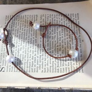 Jewelry - Genuine Leather/Pearl Necklace and Bracelet Set